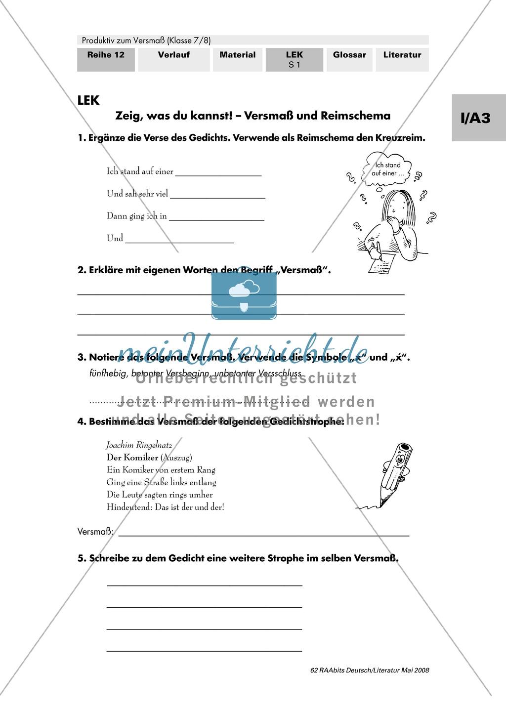 Lernerfolgskontrolle: Versmaß und Reimschema Preview 0