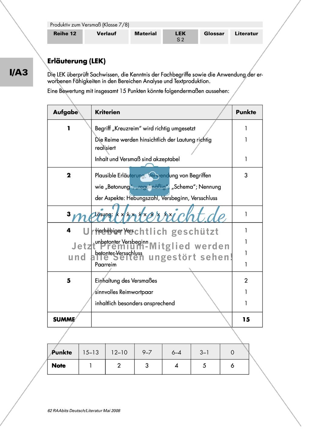 Lernerfolgskontrolle: Versmaß und Reimschema Preview 1