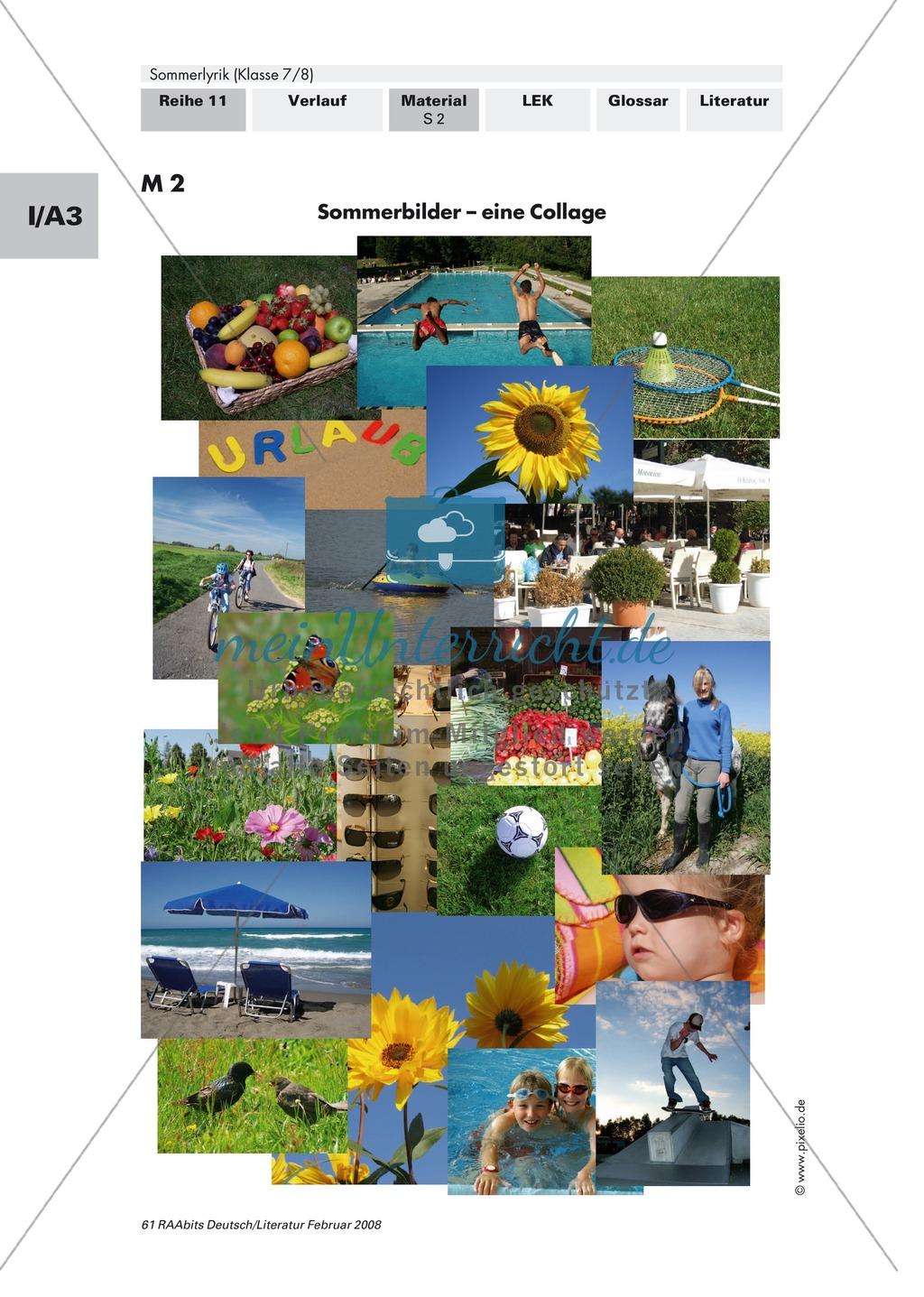 Sommerlyrik: Einführung in das Thema - Fachbegriffe zur Analyse von Gedichten Preview 1