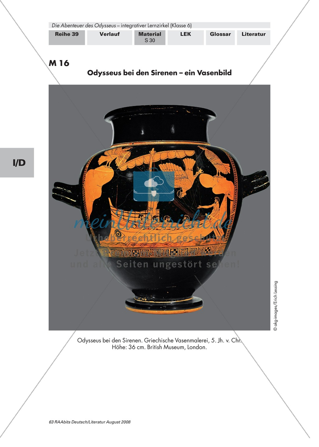 """Sagen der Antike - am Beispiel von Auguste Lechners Jugendbuch """"Die Abenteuer des Odysseus"""": Inhaltliche Vertiefung - Odysseus und die Sirenen Preview 2"""