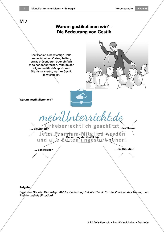 Körpersprache: Die Bedeutung der Gestik für die Kommunikation anhand eines Vortrags und eines Rollenspiels erkennen Preview 3