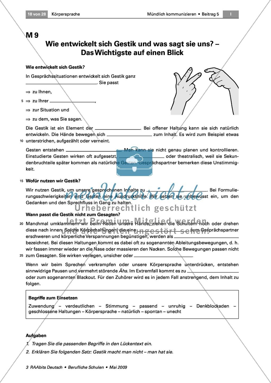 Körpersprache: Die Bedeutung der Gestik für die Kommunikation anhand eines Vortrags und eines Rollenspiels erkennen Preview 6