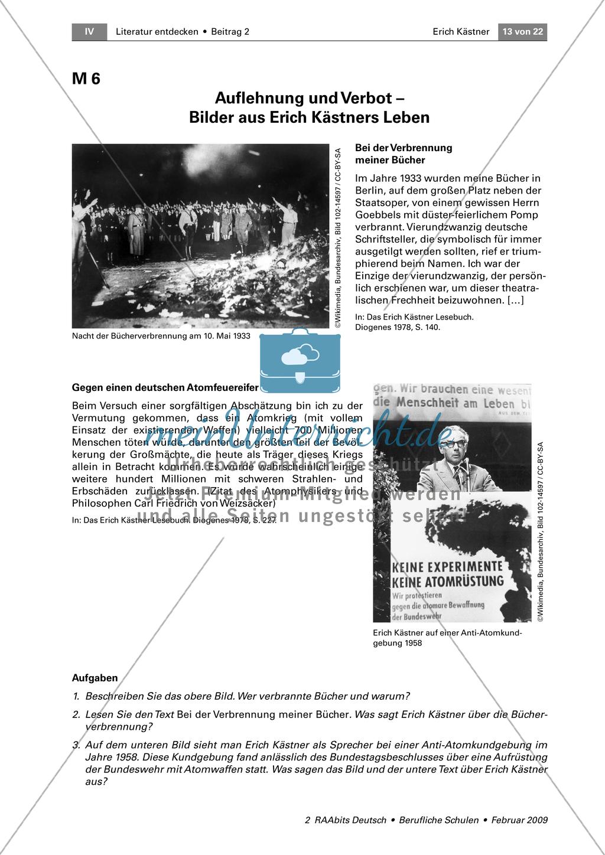 Bilder aus Erich Kästners Biografie: Bild von Bücherverbrennung + Anti-Atomkundgebung + Zeitstrahl Preview 1