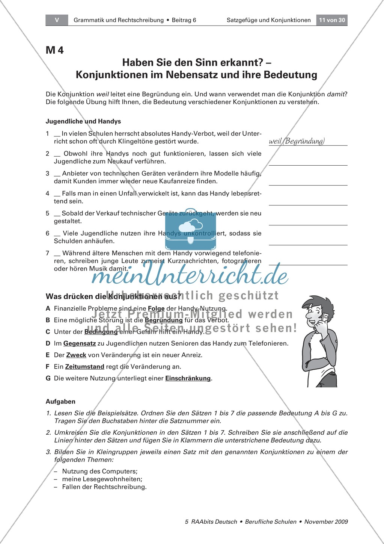 Satzgefüge und Konjunktionen: Verbindungen, Beziehungen und ...