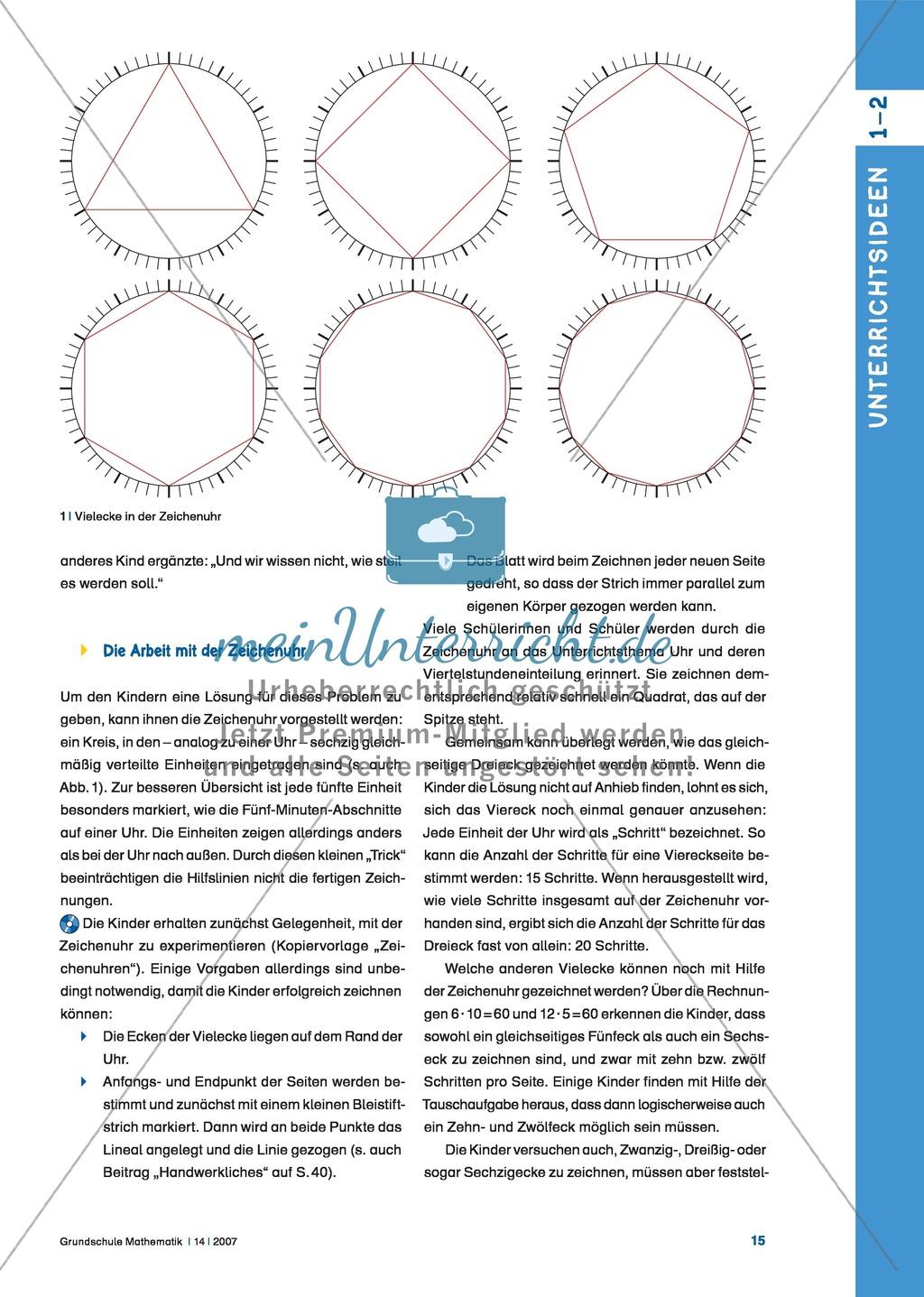 vielecke zeichnen mit der zeichenuhr geometrische figuren ohne geodreieck und zirkel darstellen. Black Bedroom Furniture Sets. Home Design Ideas