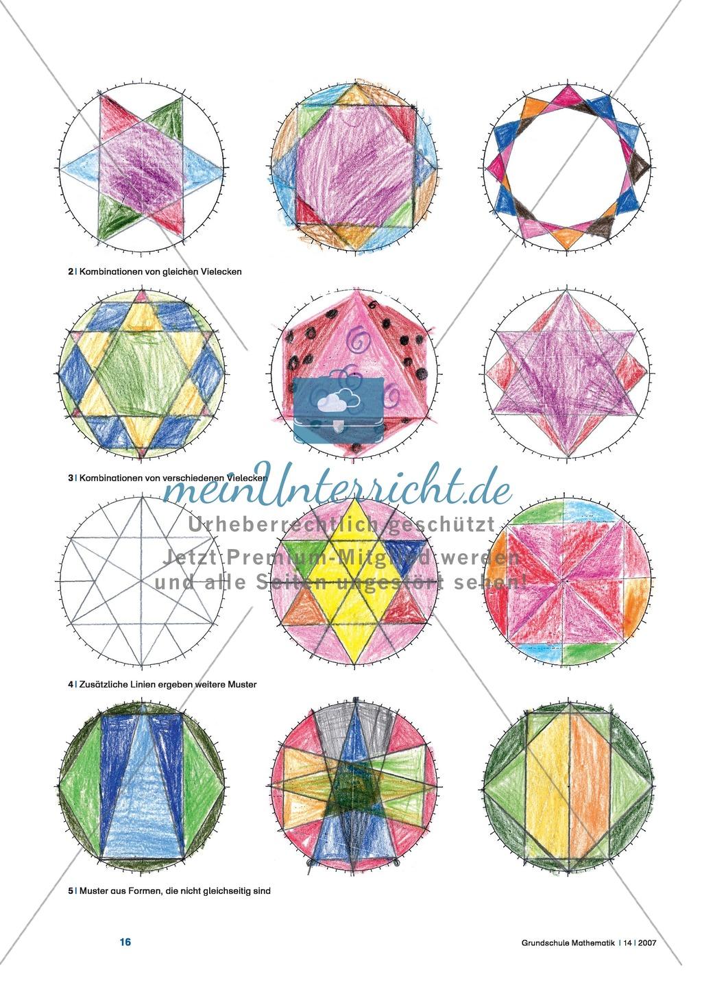 vielecke zeichnen mit der zeichenuhr geometrische figuren