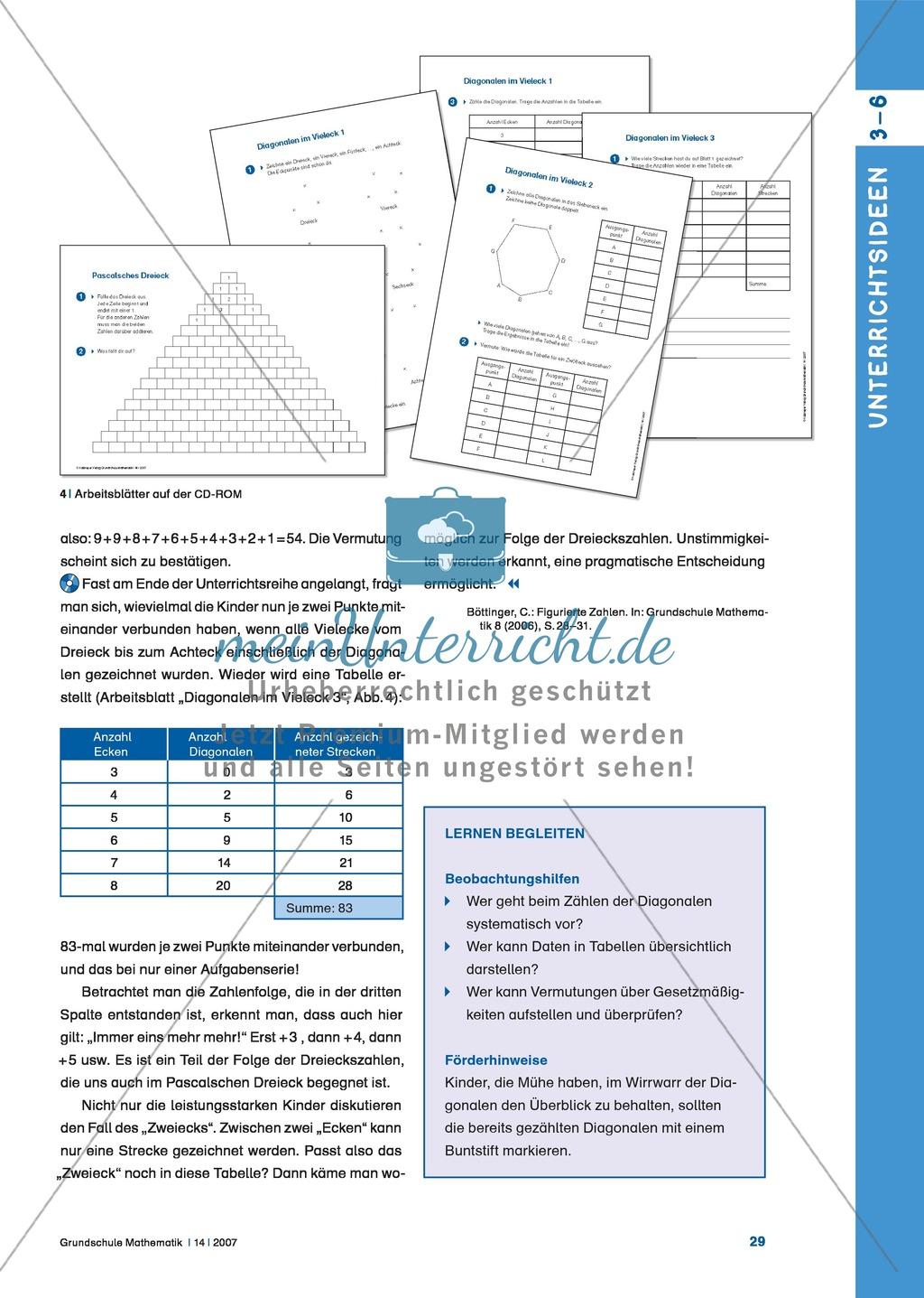Diagonalen im Vieleck: Lerneinheit zur Verknüpfung geometrischer und ...