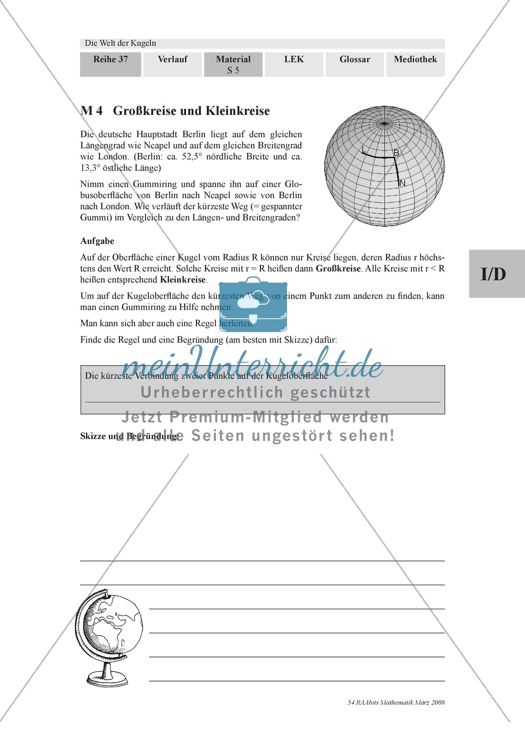 Die Kugel: Aufgaben zur Berechnung von Entfernungen und Winkel auf der Kugeloberfläche Preview 0