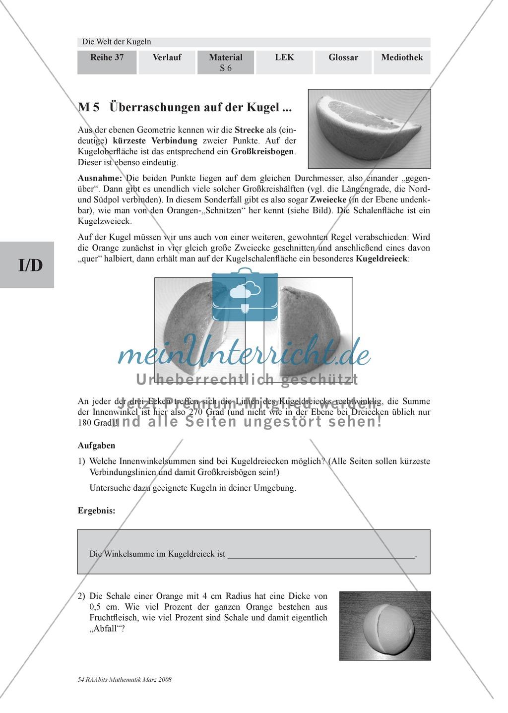 Die Kugel: Aufgaben zur Berechnung von Entfernungen und Winkel auf der Kugeloberfläche Preview 1