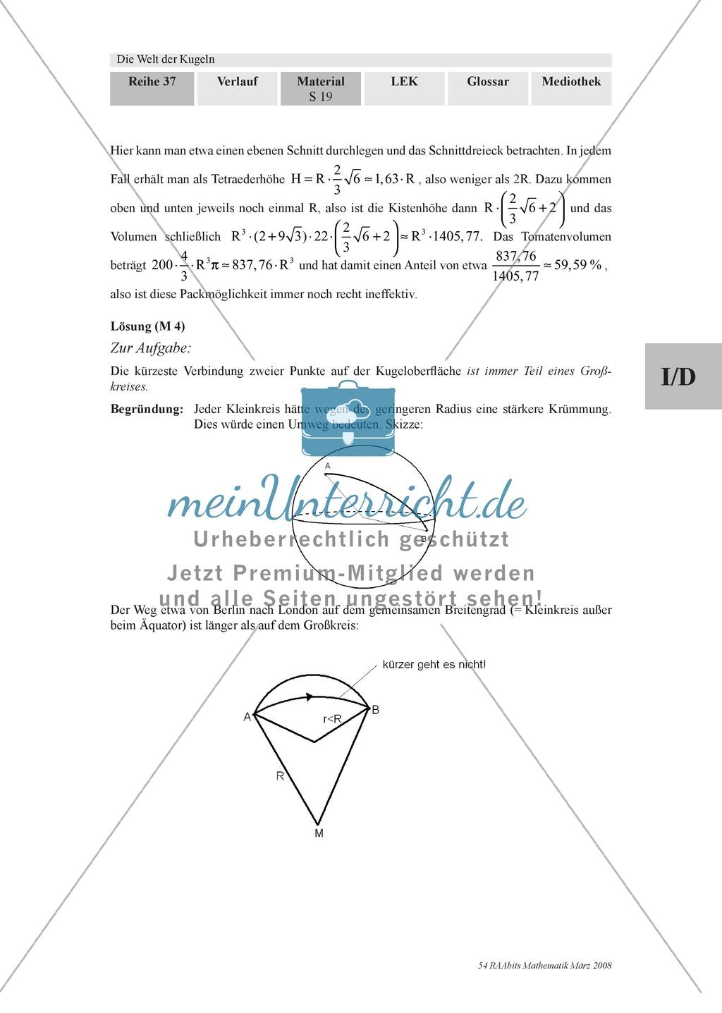 Die Kugel: Aufgaben zur Berechnung von Entfernungen und Winkel auf der Kugeloberfläche Preview 2