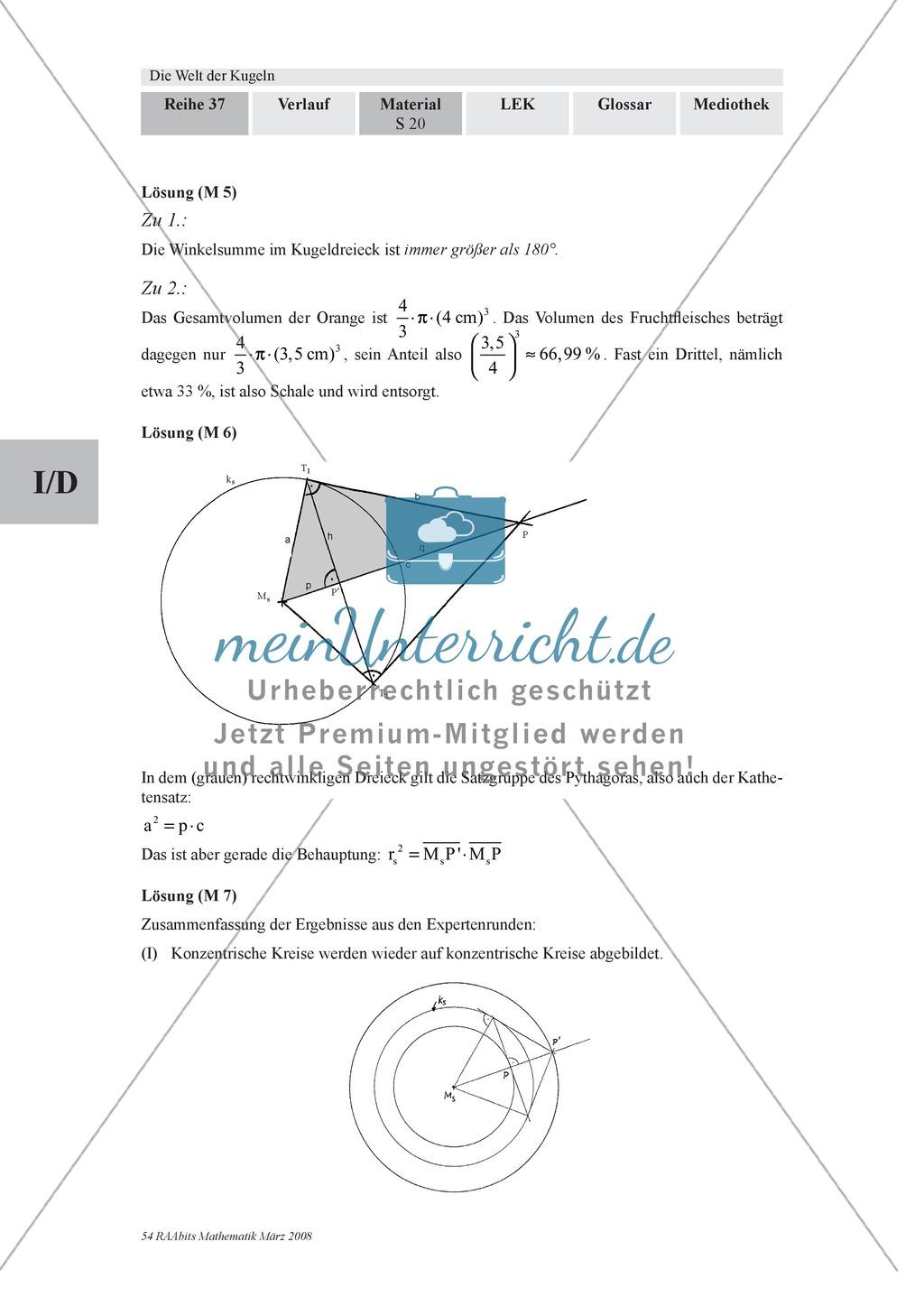 Die Kugel: Aufgaben zur Berechnung von Entfernungen und Winkel auf der Kugeloberfläche Preview 3