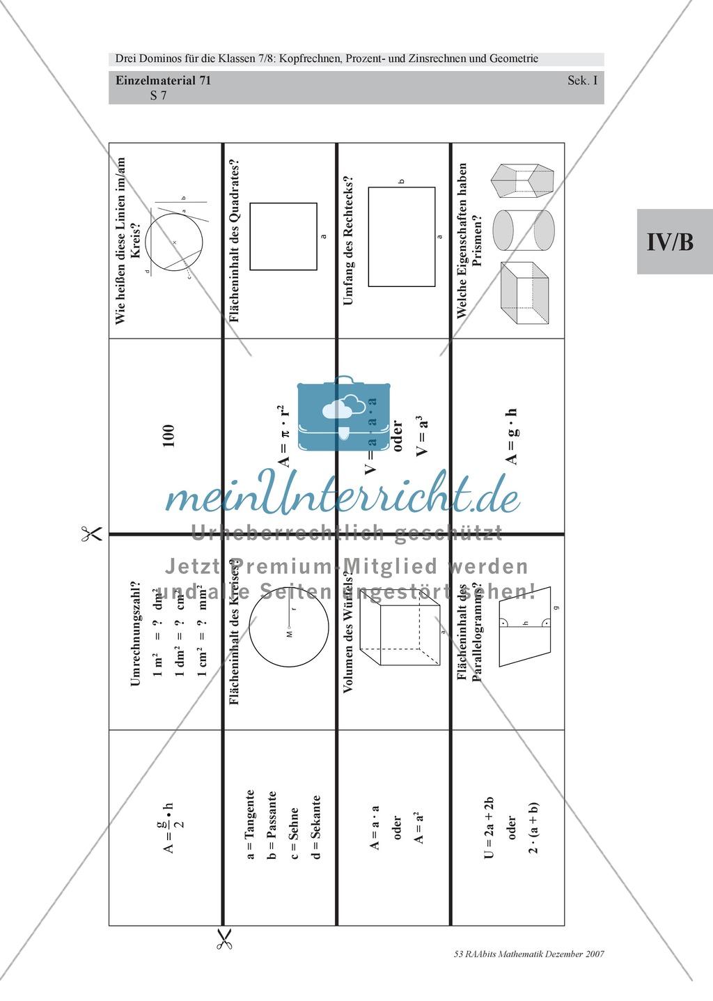 Mathematisches Domino zur Geometrie Preview 3