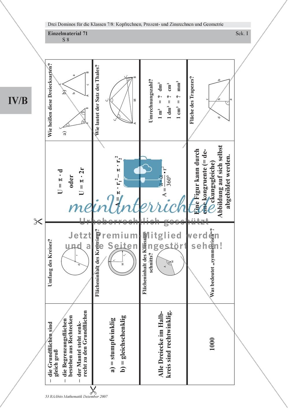 Mathematisches Domino zur Geometrie Preview 4