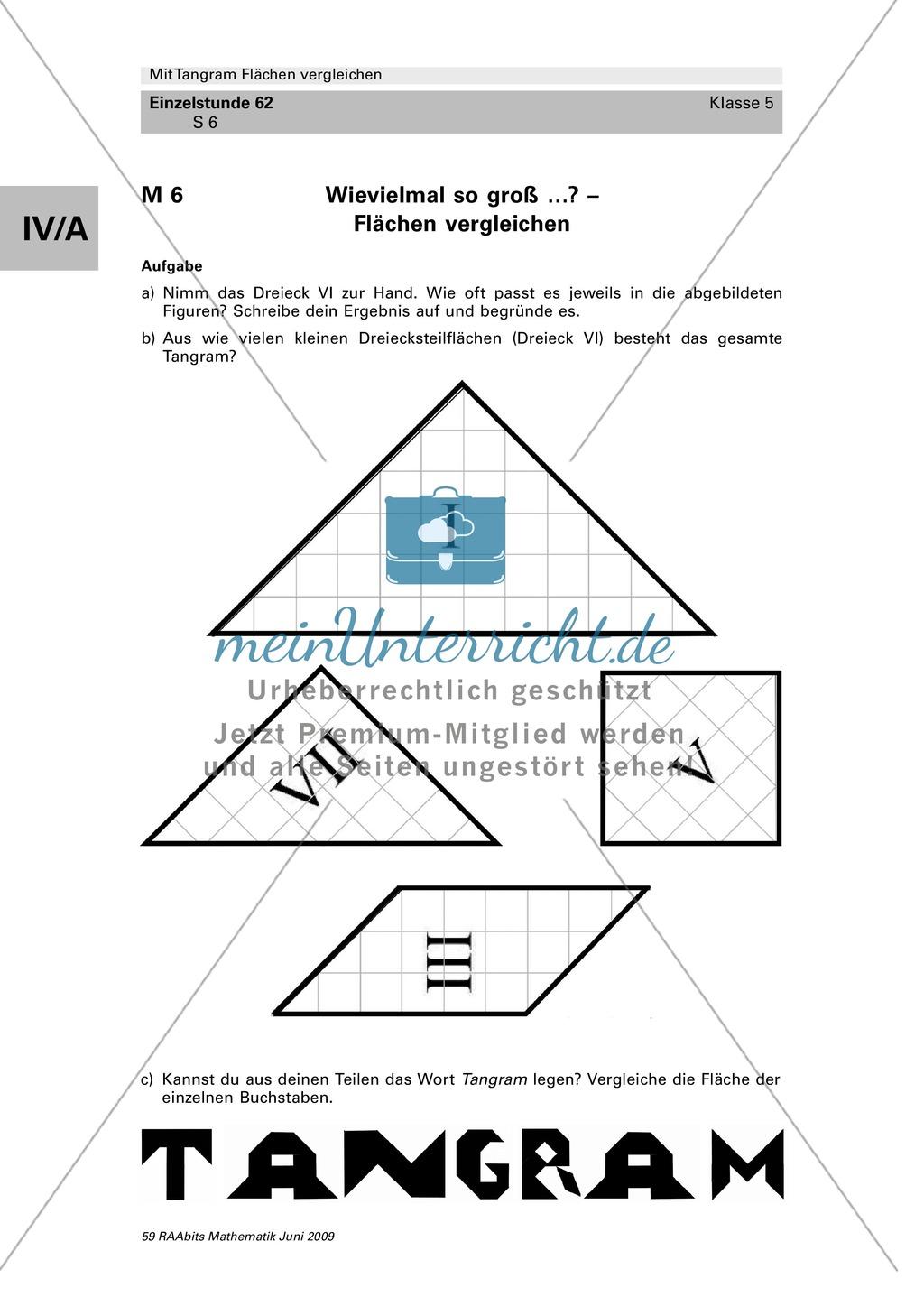 Tangram Flächen: Vergleich verschiedener Flächen und Umfangsberechnung Preview 3