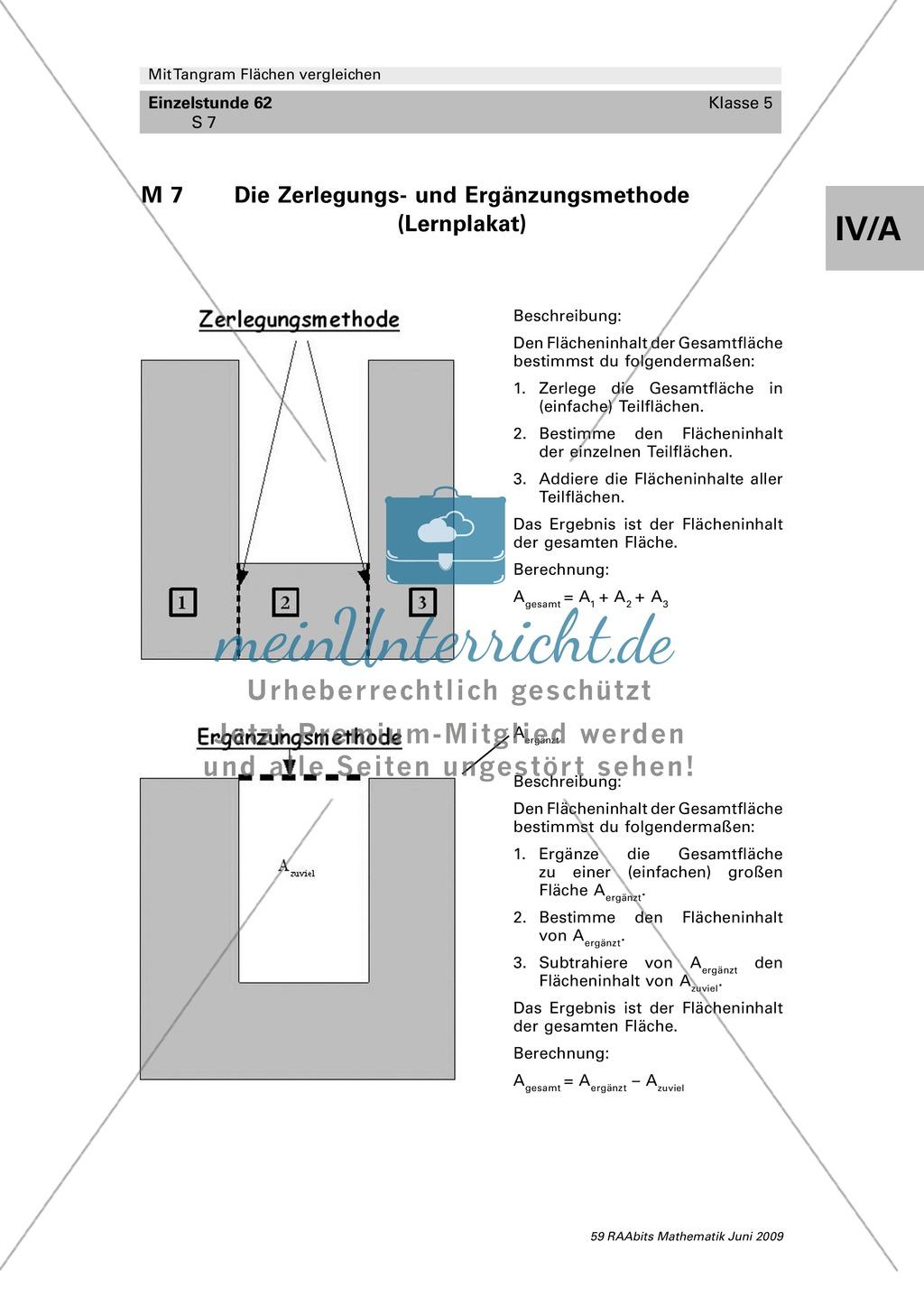 Tangram Flächen: Vergleich verschiedener Flächen und Umfangsberechnung Preview 4
