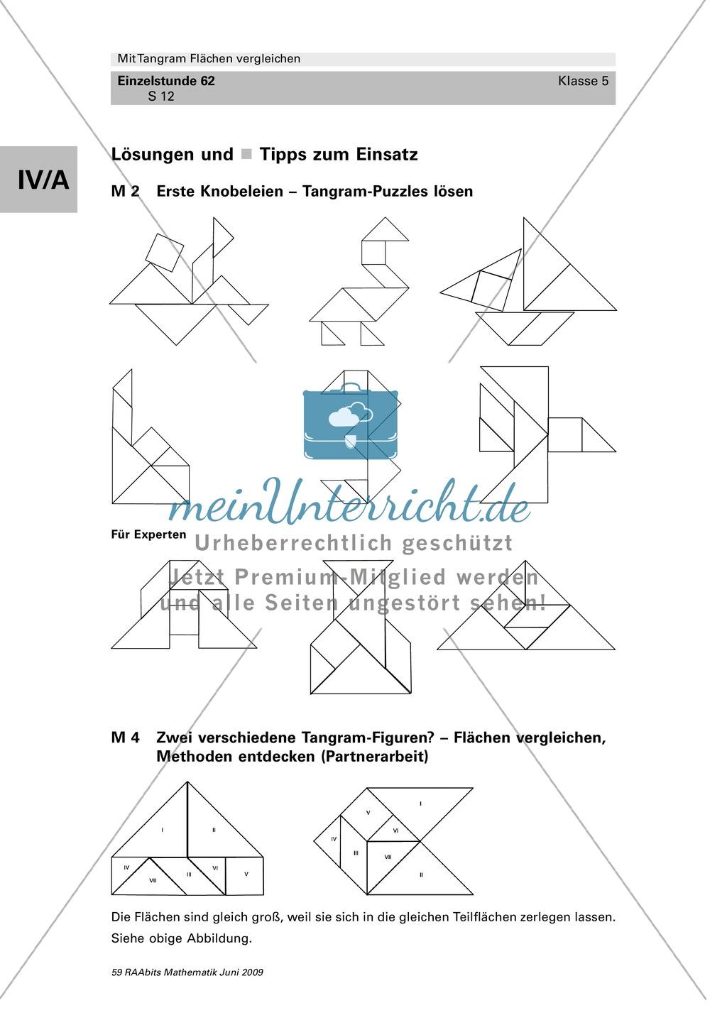 Tangram Flächen: Vergleich verschiedener Flächen und Umfangsberechnung Preview 5