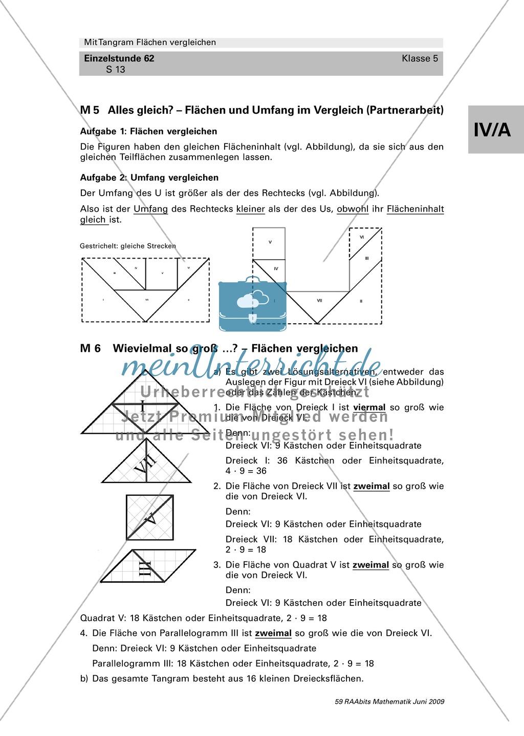 Tangram Flächen: Vergleich verschiedener Flächen und Umfangsberechnung Preview 6