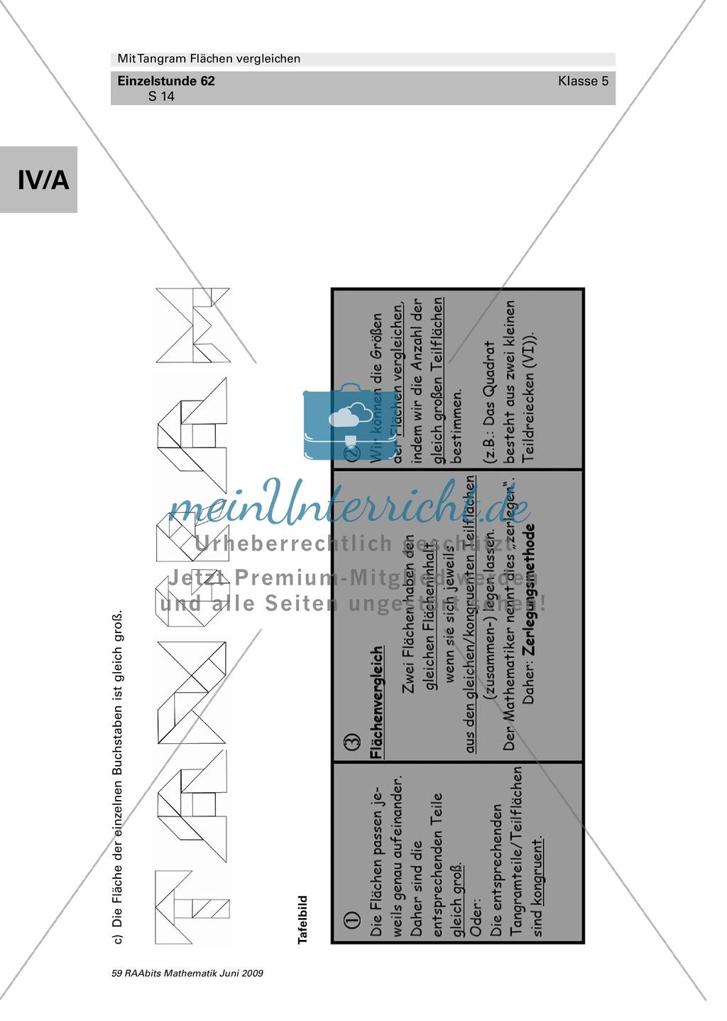 Tangram Flächen: Vergleich verschiedener Flächen und Umfangsberechnung Preview 7