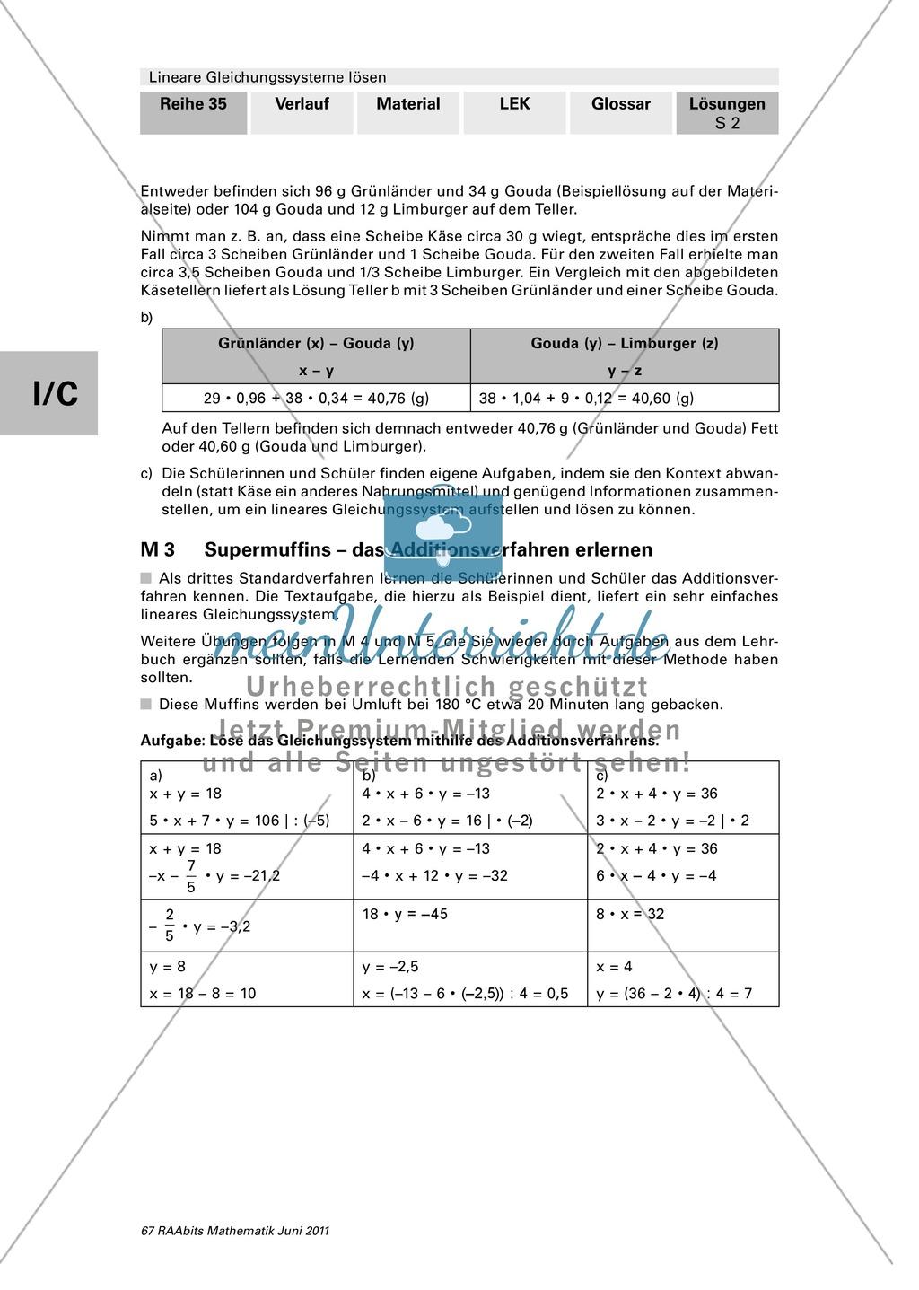 Lineare Gleichungssysteme: Das Additionsverfahren anhand eines ...
