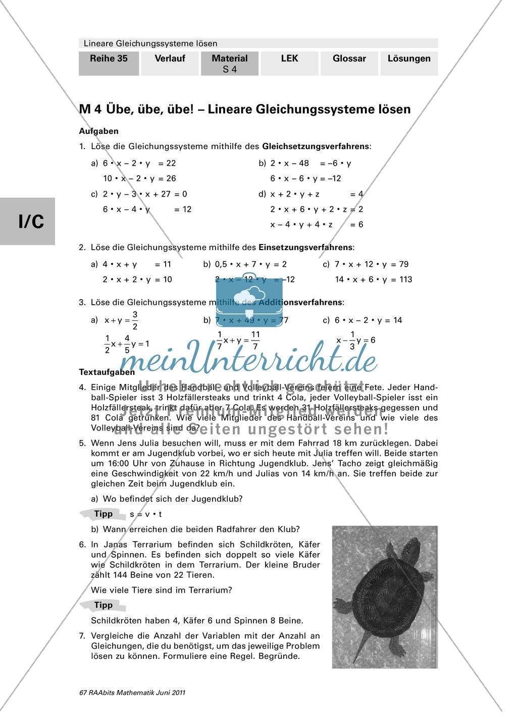 Lineare Gleichungssysteme: Vermischte Aufgaben zum Üben und ...
