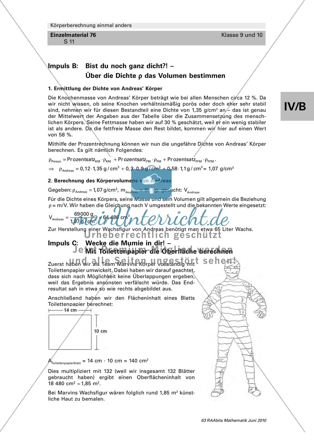 Geometrie: Körperberechnungen am menschlichen Körper mit ...