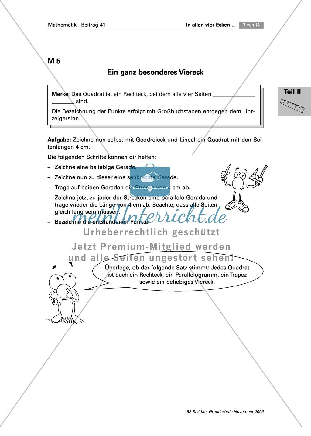 Geometrie: Die Eigenschaften von Vierecken - Quadrat, Rechteck ...
