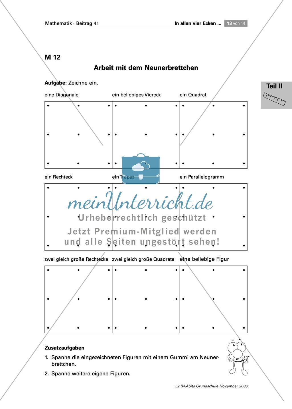 geometrie lerntheke zum vertiefen der eigenschaften von quadrat rechteck trapez. Black Bedroom Furniture Sets. Home Design Ideas