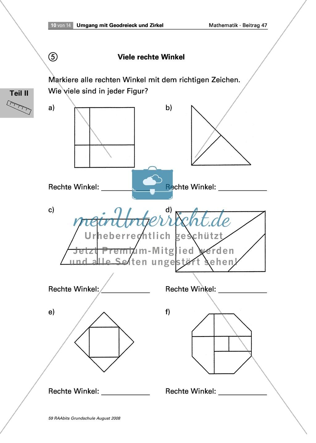 geometrie: aufgaben zum zeichnen und erkennen von rechten winkeln