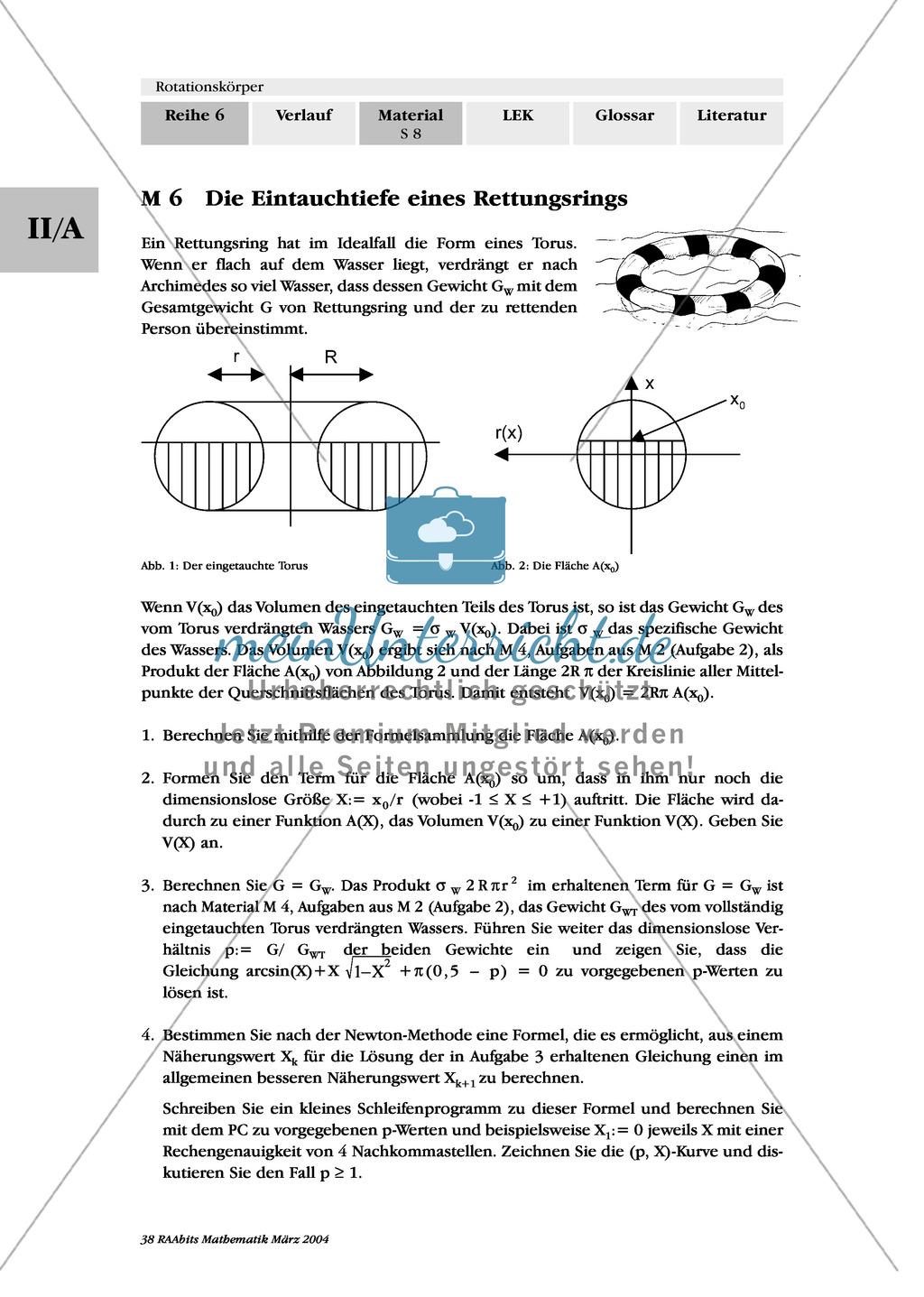 Analysis: Sachaufgaben mit Lösungen zu Rotationskörpern - meinUnterricht