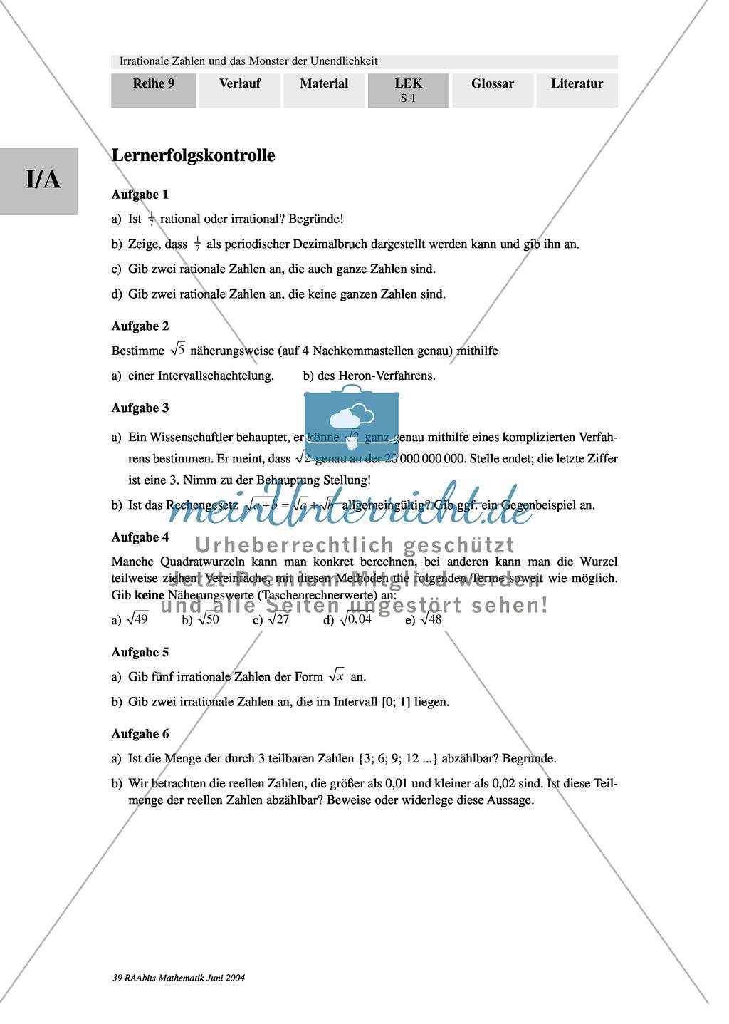 Test/Lernerfolgskontrolle zum Thema irrationale Zahlen, Wurzeln mit ...