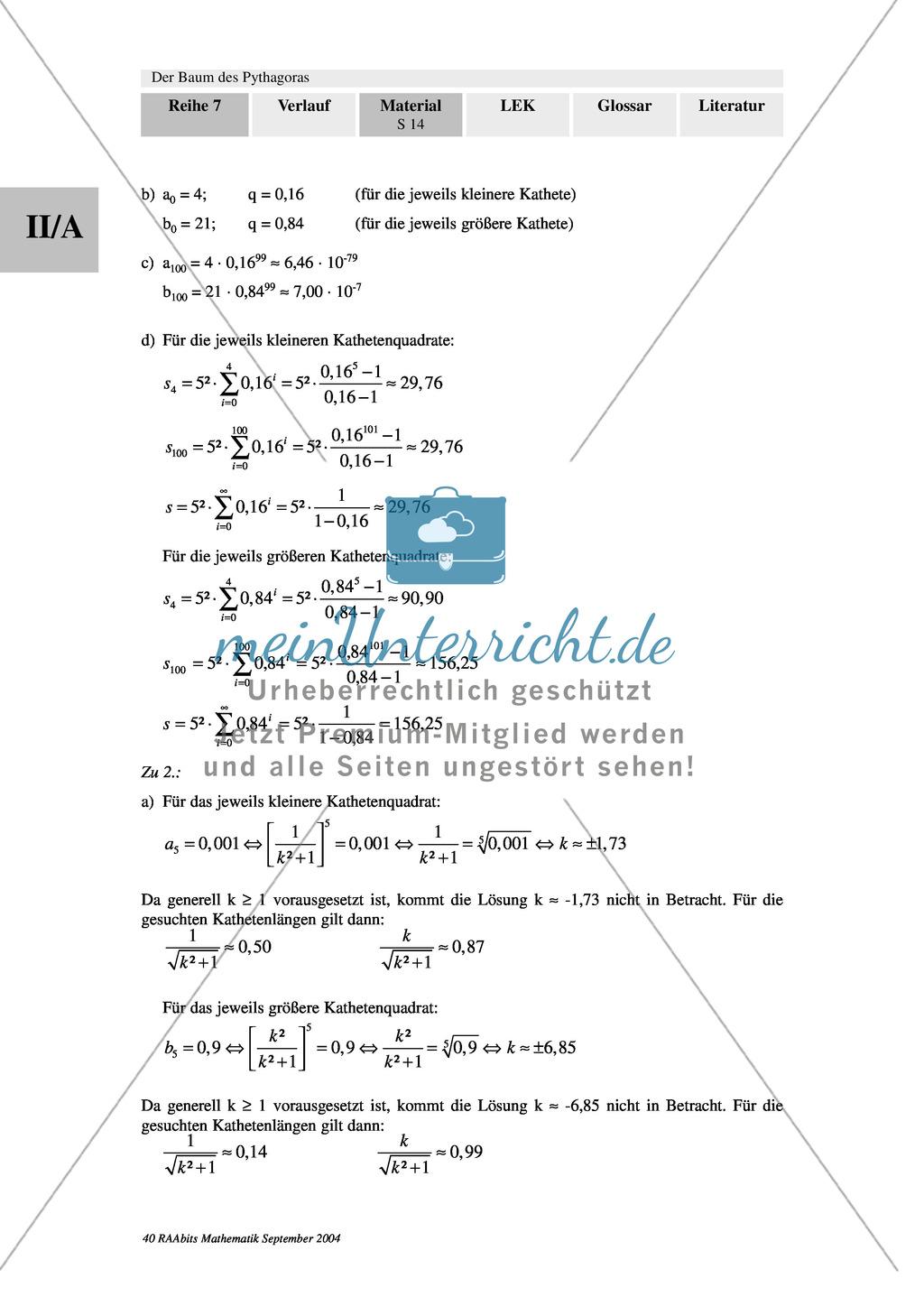 Grenzwertbetrachtungen bei Folgen und Reihen: Anwendungsaufgaben zur grafischen Flächeninhalts- und Umfangsentwicklung an Zweigen des Baums des Pythagoras Preview 4