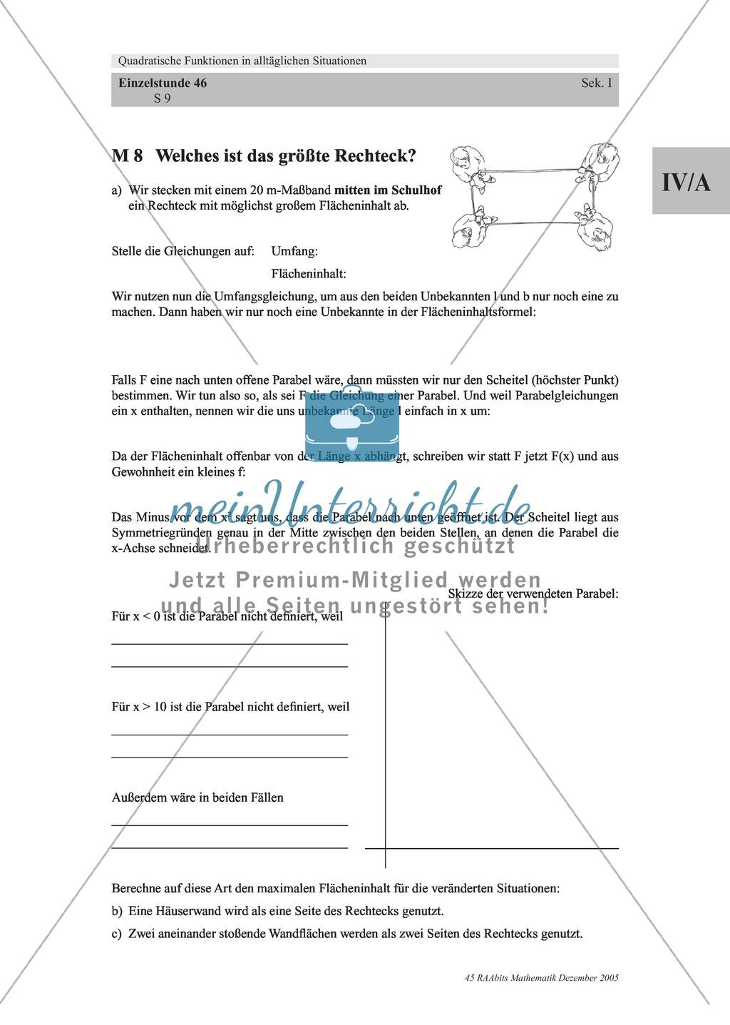 Analysis: Gruppenarbeit um Rechteck mit größter Fläche auf dem Schulhof zu finden (quadratische Funktion). Mit 3 Aufgaben und Lösungen und Erläuterungen. Preview 4