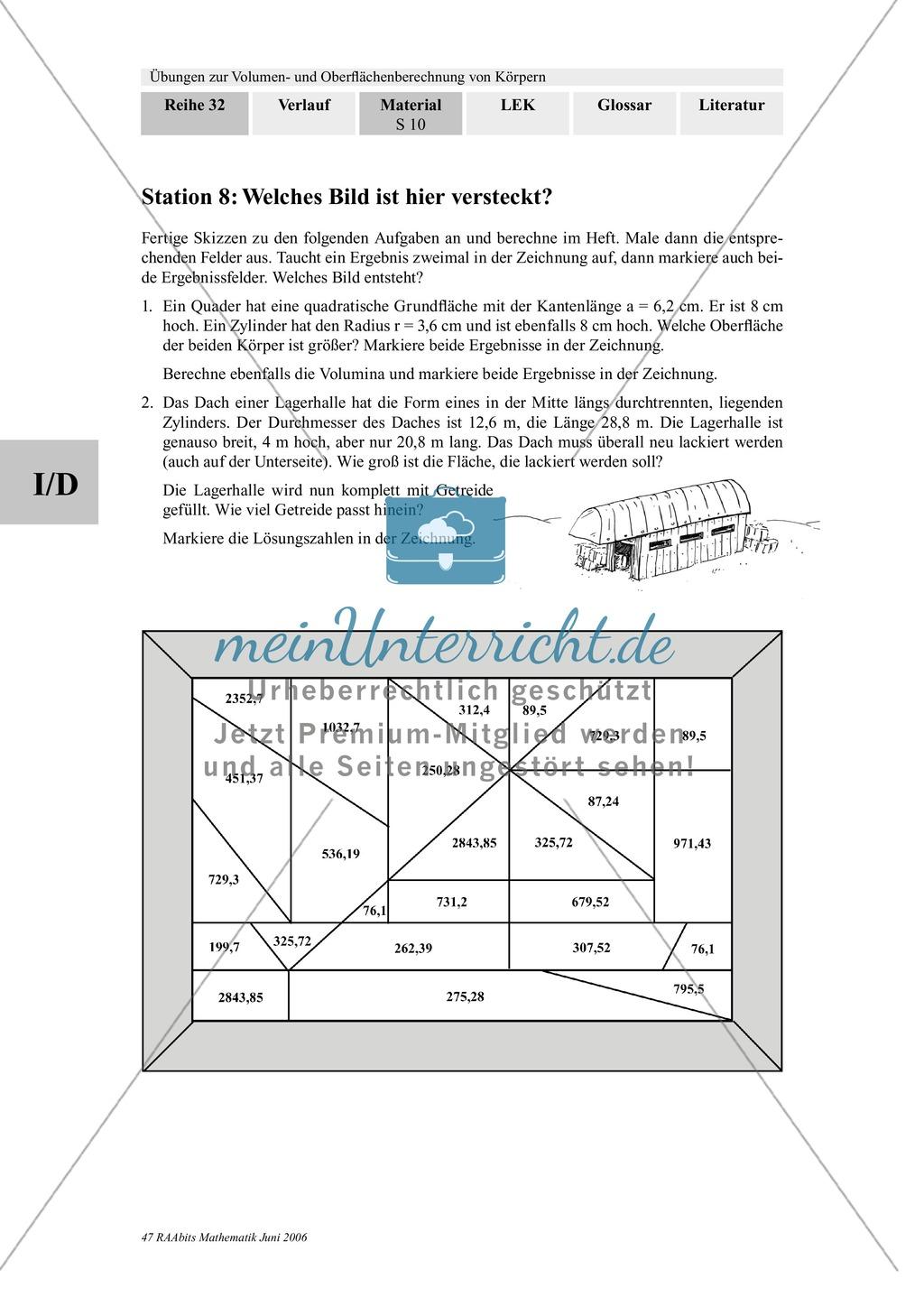 ... Geometrie: Stationenlernen Zu Volumen Und Oberfläche Von Körpern  (Prisma, Würfel, Quader, ...