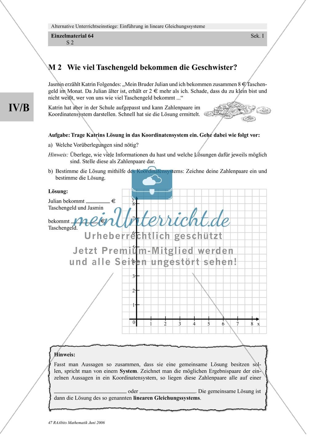 Lineare Gleichungssysteme: Sachaufgaben zum Thema Taschengeld, Handyvertrag Preview 1