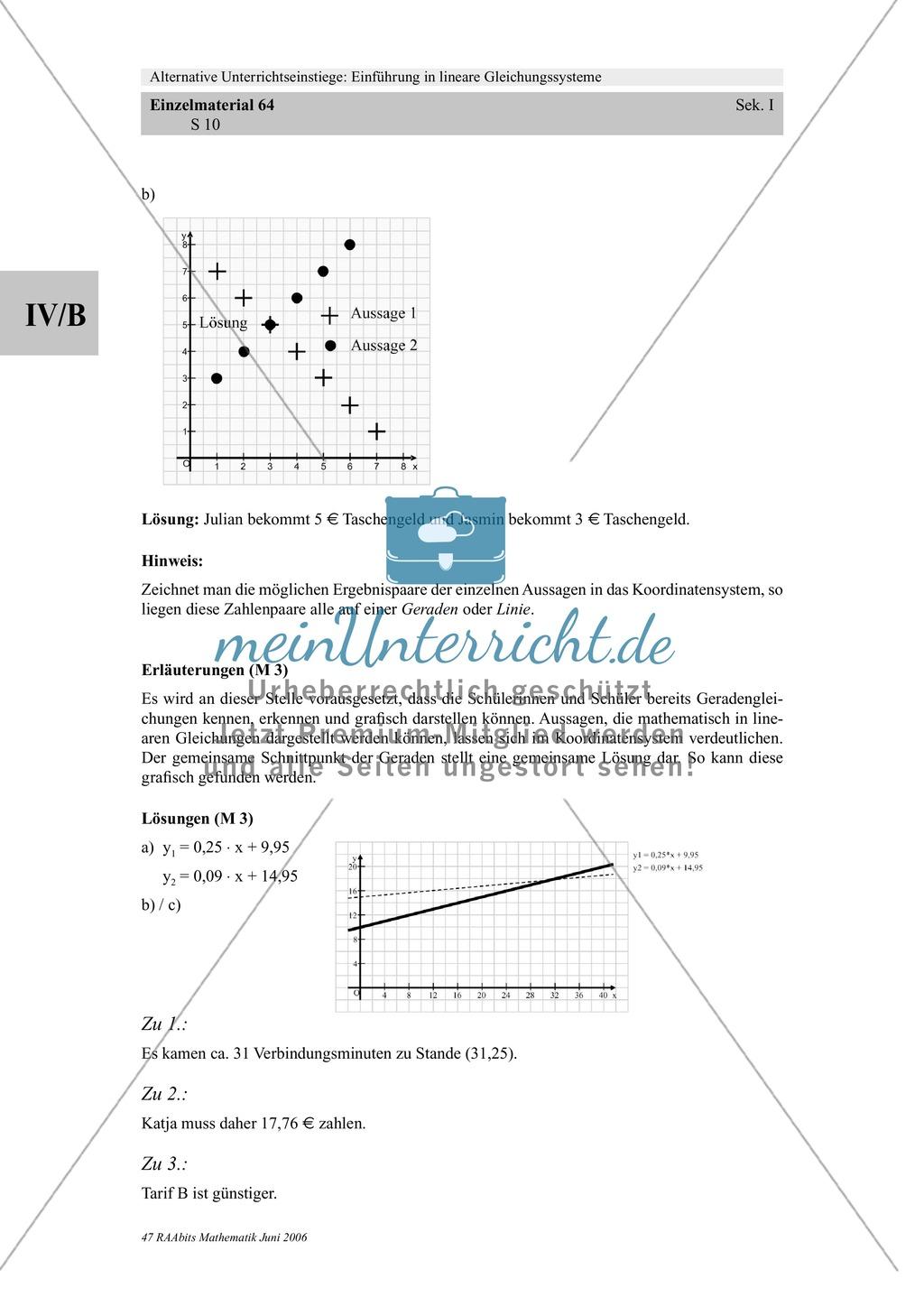 Lineare Gleichungssysteme: Sachaufgaben zum Thema Taschengeld, Handyvertrag Preview 5