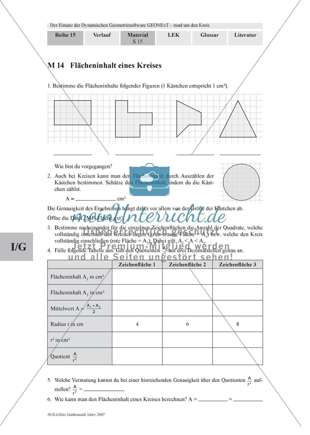 Aufgaben zu Kreisen mit der dynamischen Geometriesoftware GEONExT ...