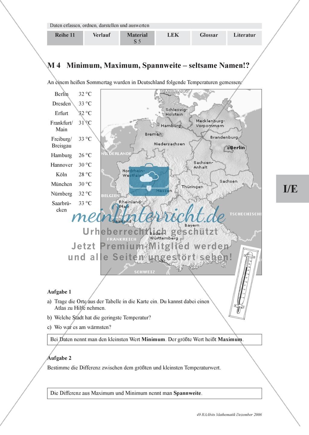 Stochastik: Lage- und Streuungsmaße (Minimum, Maximum, Spannweite) für Daten und das Stängel-Blatt-Diagramm. Mit Infomaterial, Aufgaben uns Lösungen. Preview 1