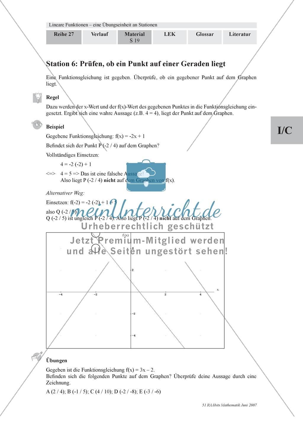 Linear Funktionen: Festigung und Wiederholung wichtiger ...