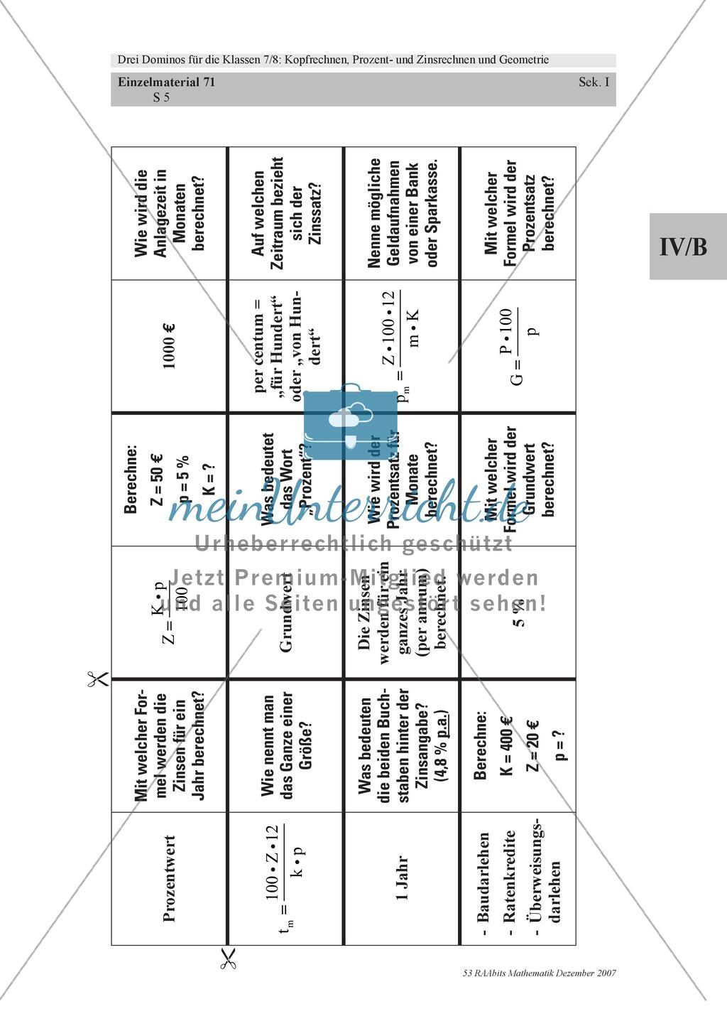 Mathematik-Domino zum Kopfrechnen mit Prozent- und Zinswerten und ...