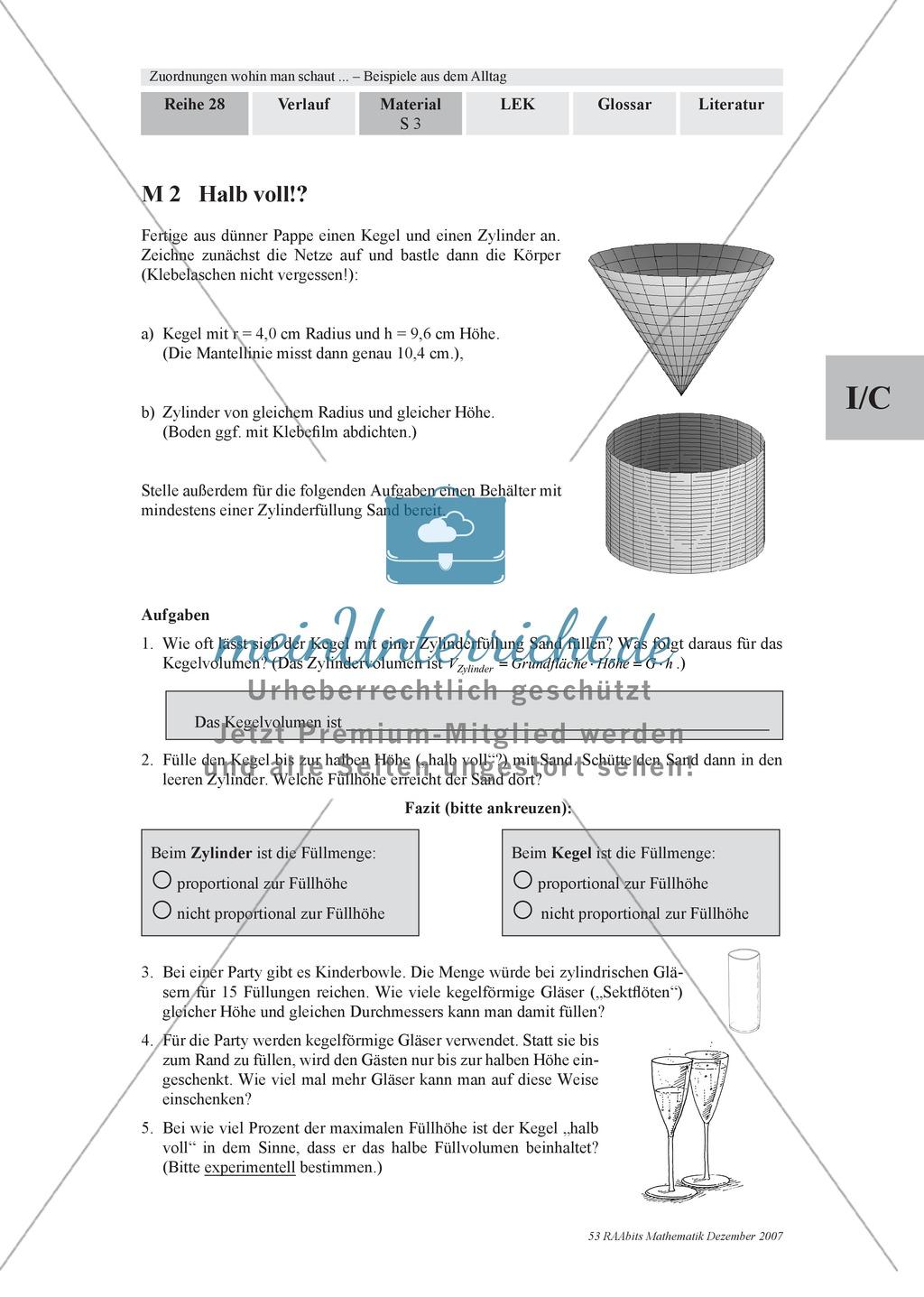 Zuordnungen: Aufgaben zum Verhältnis Füllhöhe/Füllvolumen bei Körpern mit nicht konstanter Querschnittsfläche Preview 0