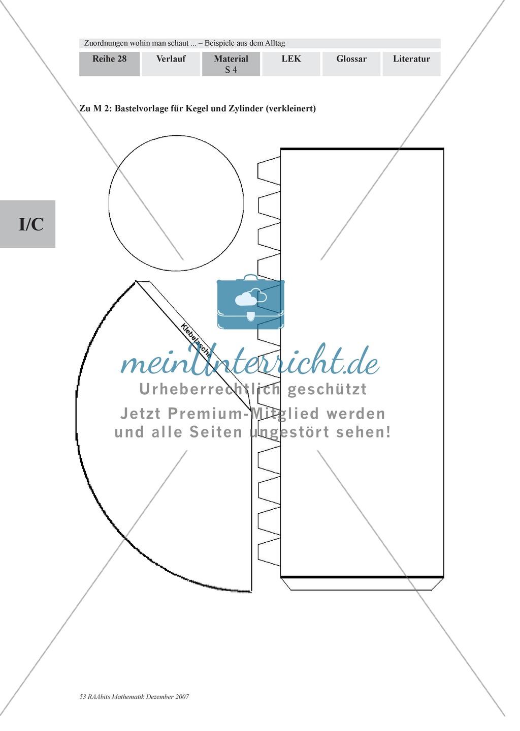 Zuordnungen: Aufgaben zum Verhältnis Füllhöhe/Füllvolumen bei Körpern mit nicht konstanter Querschnittsfläche Preview 1