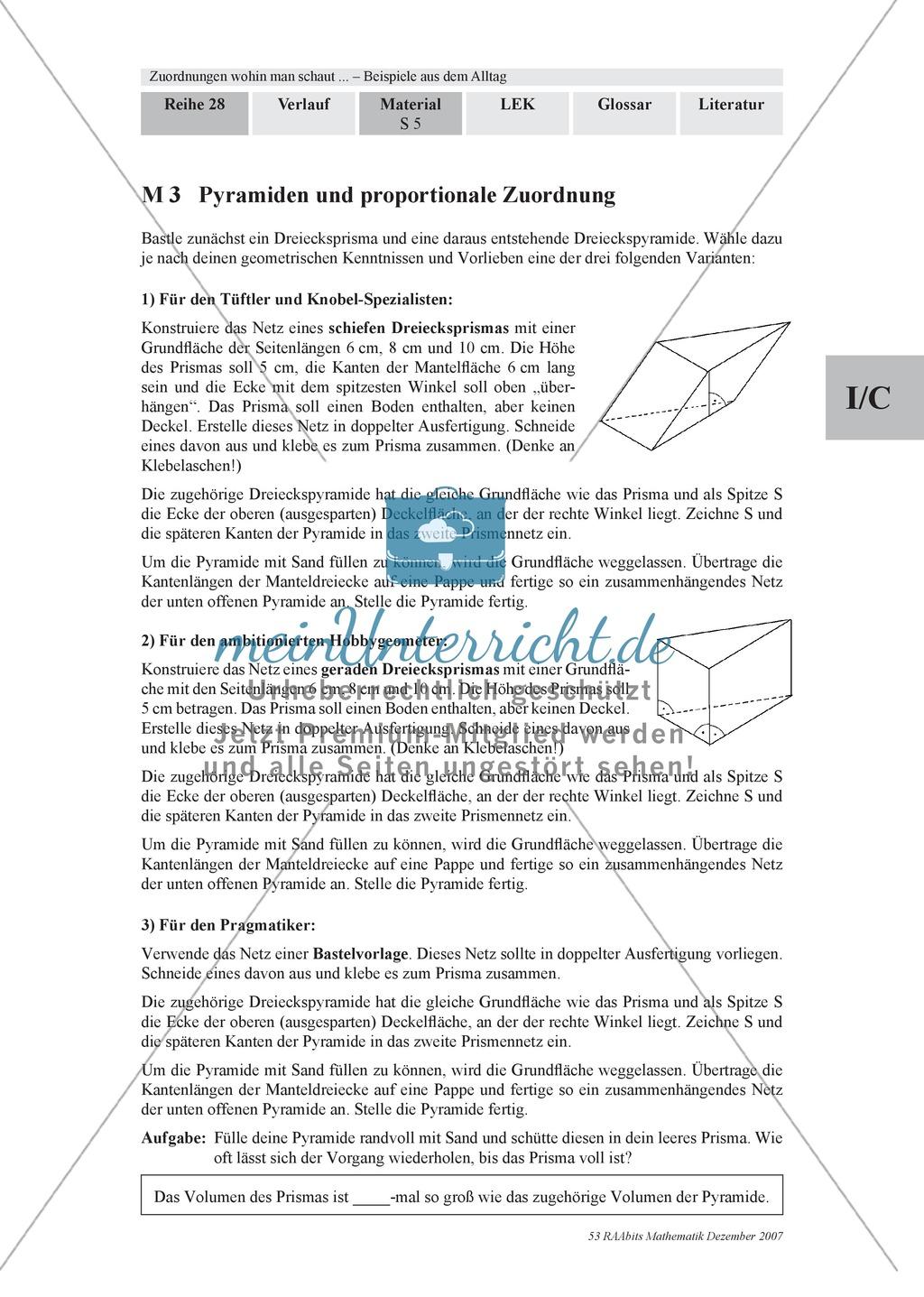 Zuordnungen: Aufgaben zum Verhältnis Füllhöhe/Füllvolumen bei Körpern mit nicht konstanter Querschnittsfläche Preview 2