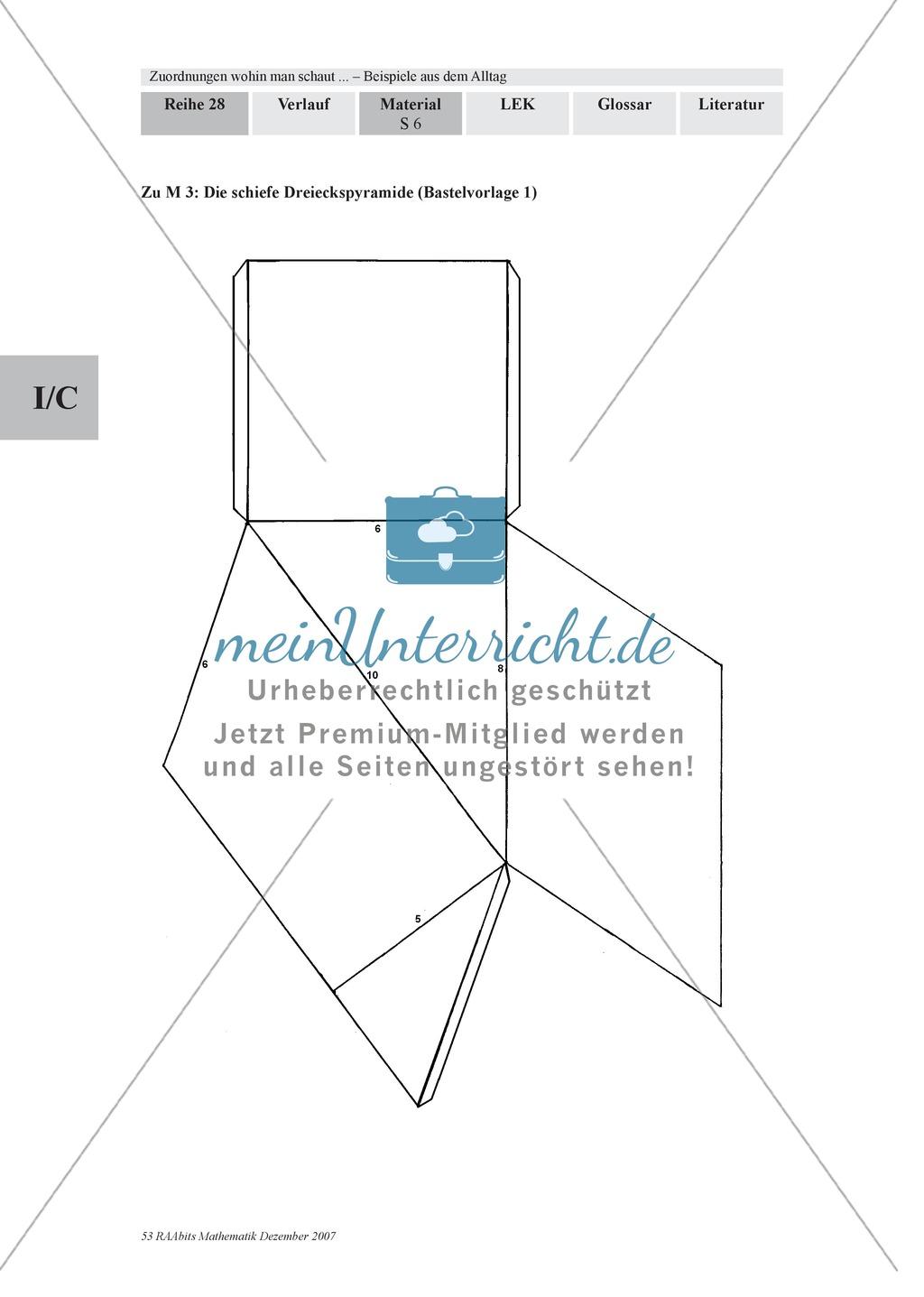 Zuordnungen: Aufgaben zum Verhältnis Füllhöhe/Füllvolumen bei Körpern mit nicht konstanter Querschnittsfläche Preview 3