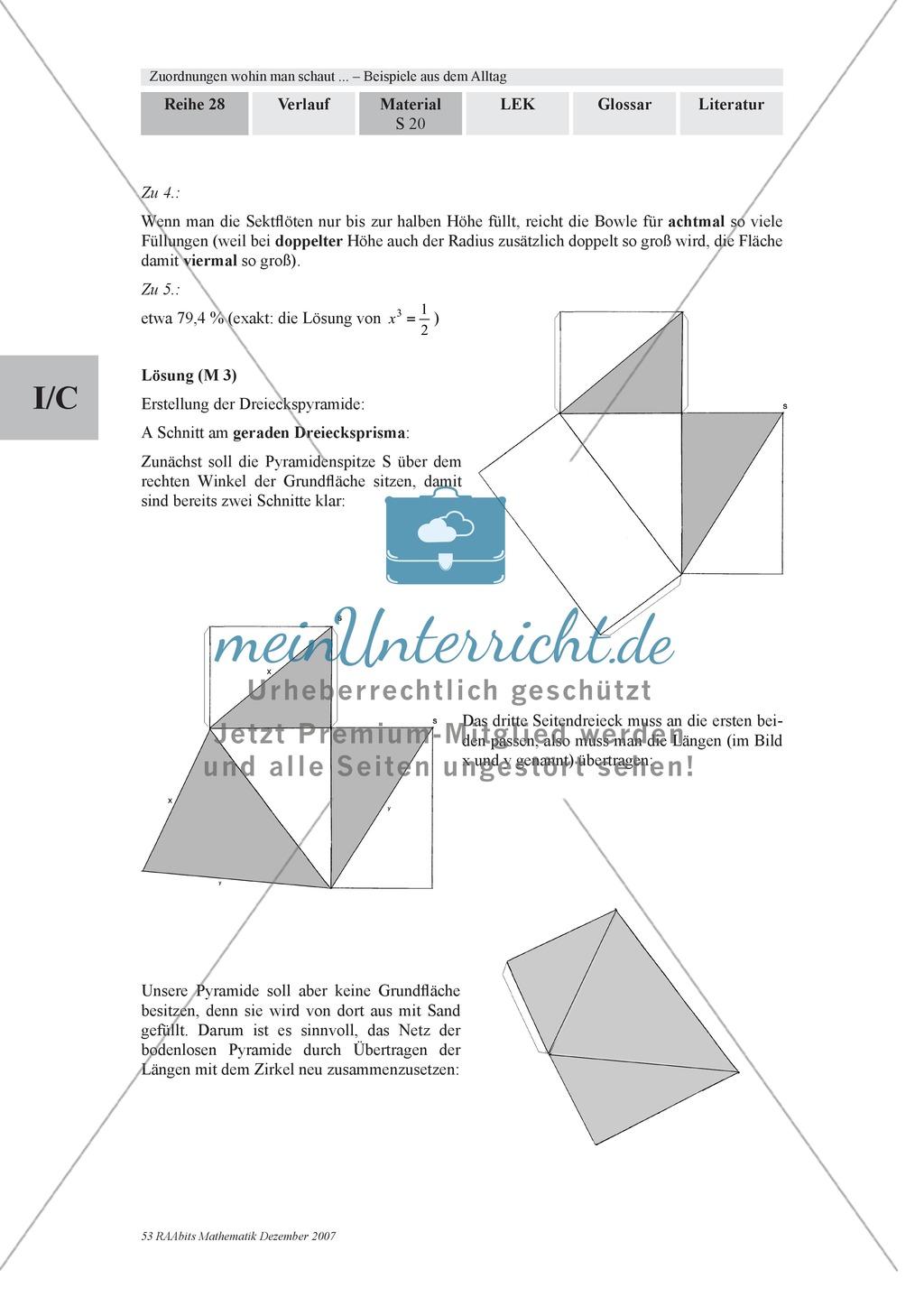 Zuordnungen: Aufgaben zum Verhältnis Füllhöhe/Füllvolumen bei Körpern mit nicht konstanter Querschnittsfläche Preview 5