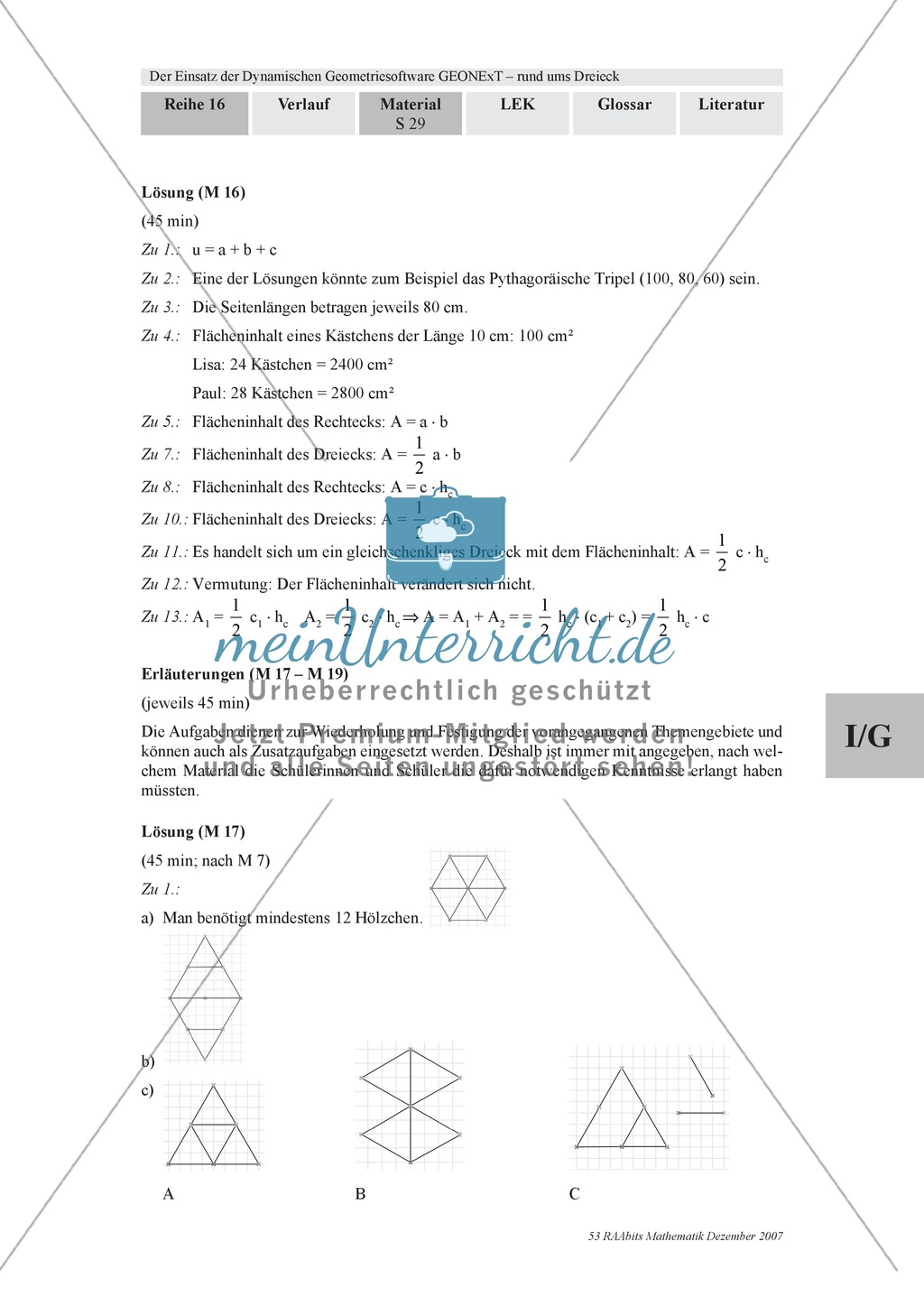 GEONExT-Geometriesoftware: Einteilung von Dreiecken nach Winkeln und Seiten Preview 9