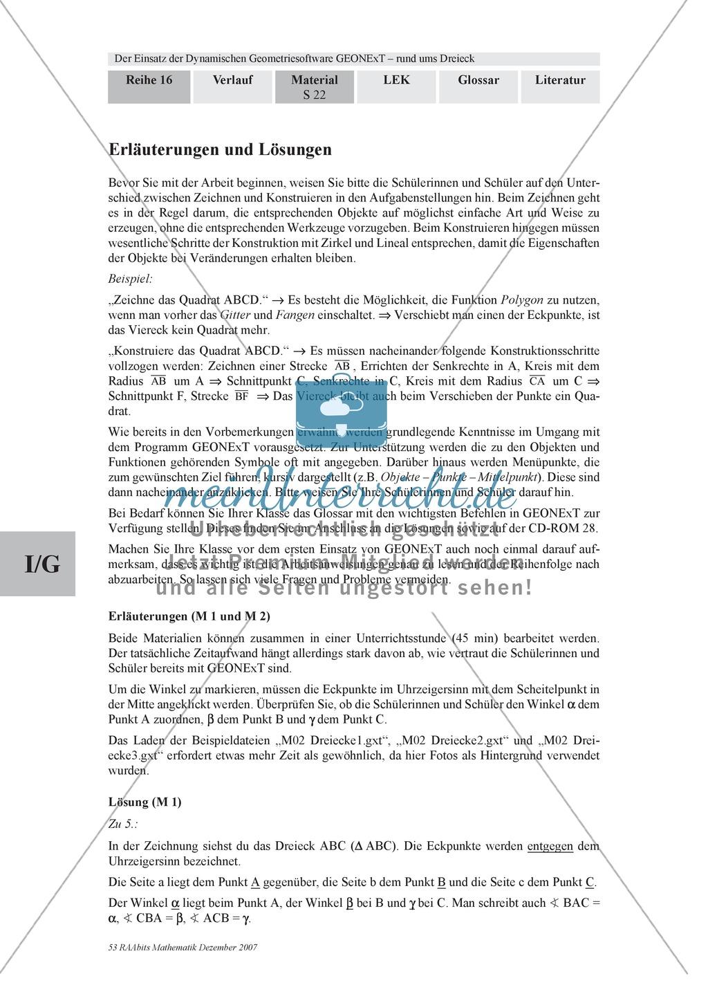 GEONExT-Geometriesoftware: Einteilung von Dreiecken nach Winkeln und Seiten Preview 2