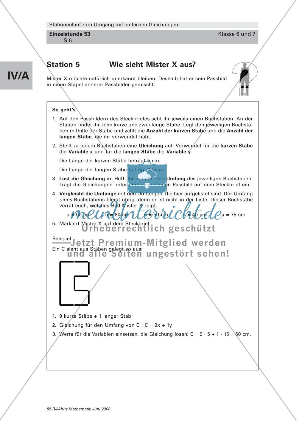 Lernspiel an Stationen: Gleichungen lösen und Textinformationen ...