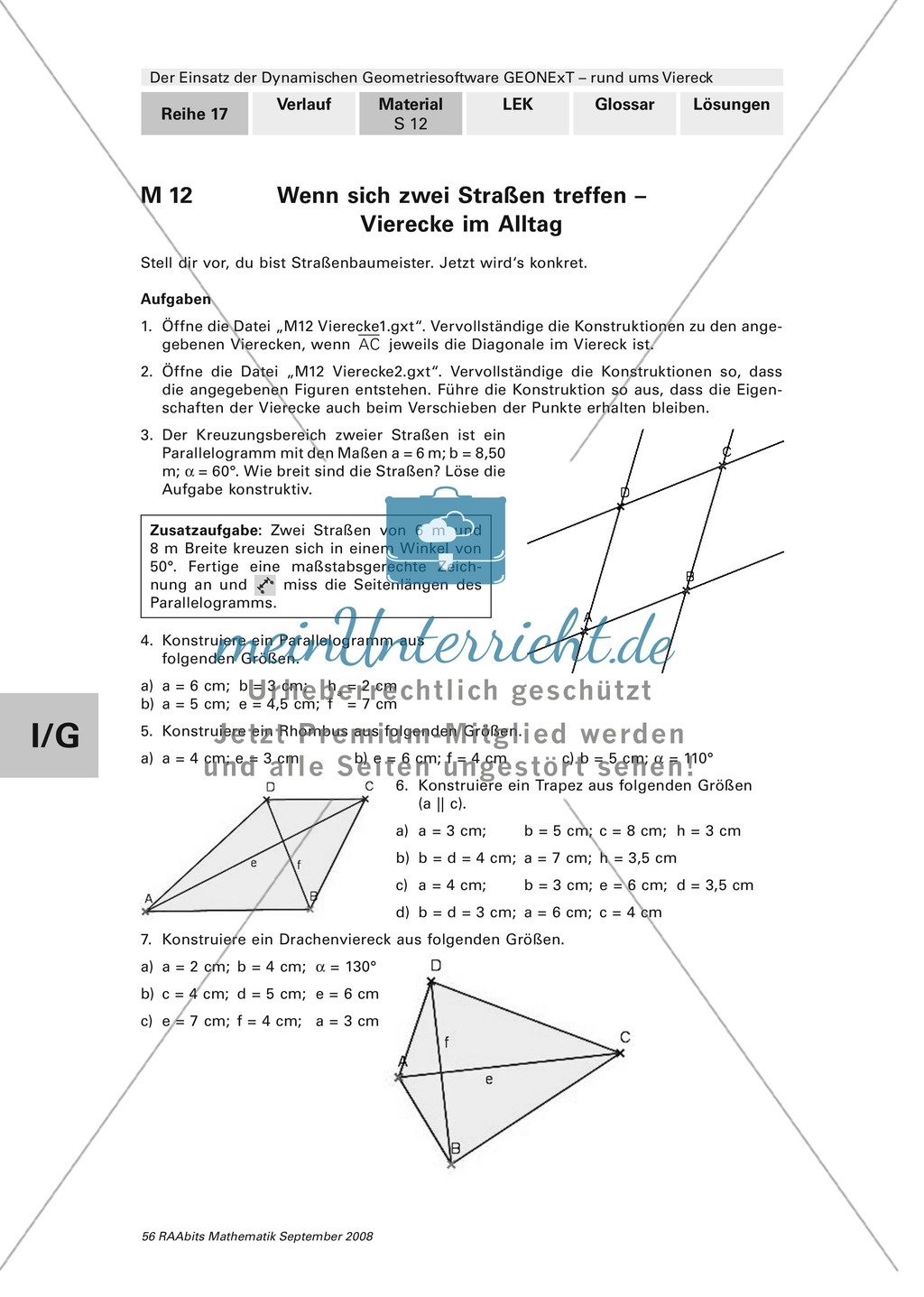 GEONExT: Verschiedene Übungen und Aufgaben zu Vierecken - meinUnterricht