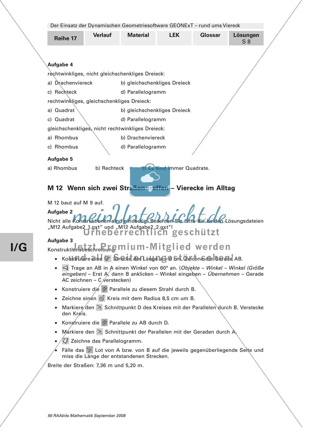GEONExT: Verschiedene Übungen und Aufgaben zu Vierecken Preview 7