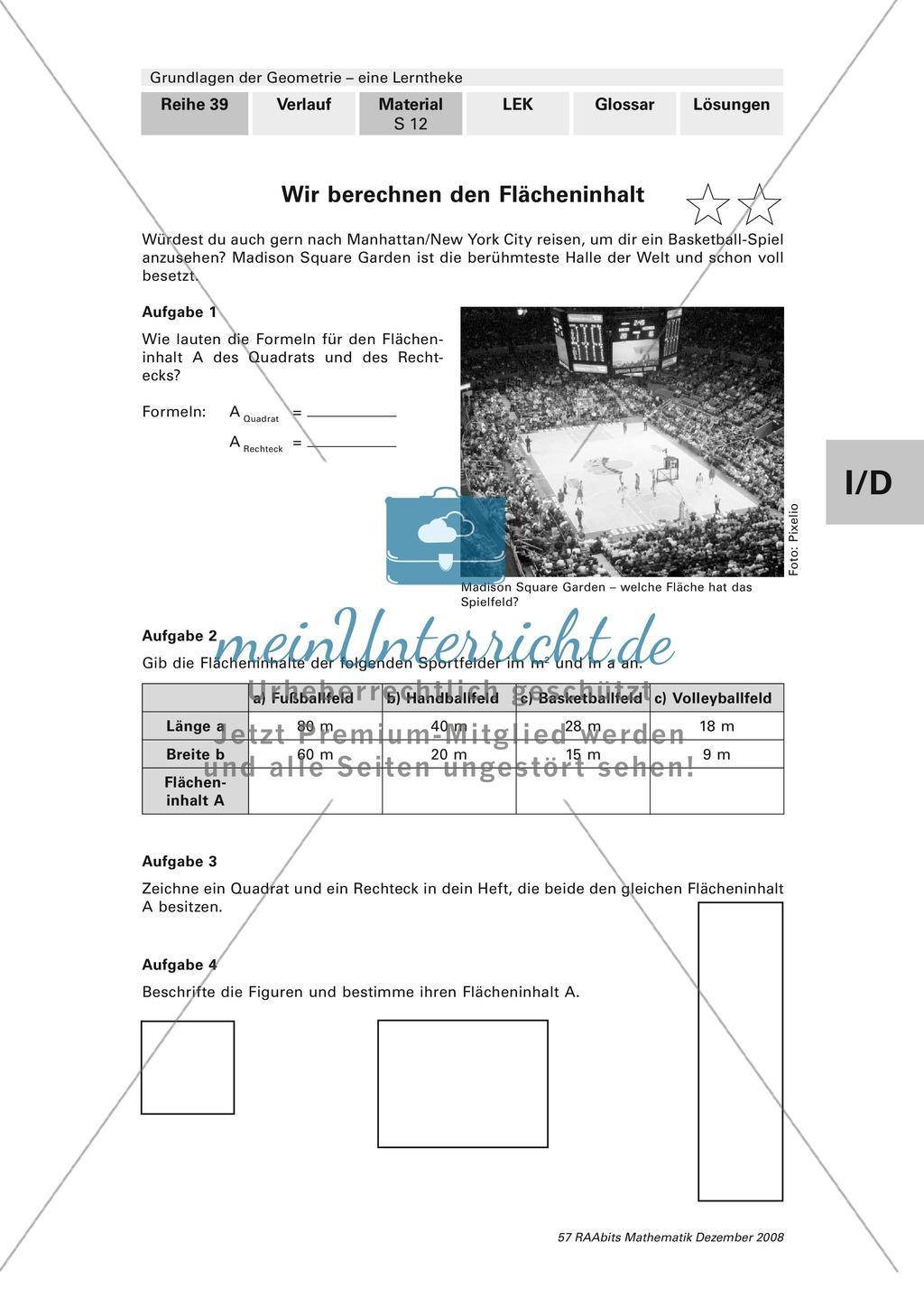 Geometrie: Lerntheke mit Selbsttest und differenzierenden Aufgaben ...